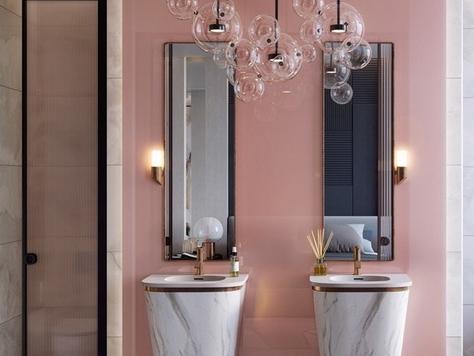 """Дизайн интерьера ванной в Хабаровске """"Розовые стильные ванные комнаты"""""""